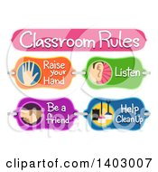 Clipart Of A Classroom Rules Board With Raise Your Hand Listen Be A Friend And Help Clean Up Text Royalty Free Vector Illustration