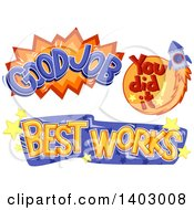 Clipart Of Good Job You Did It And Best Works School Achievement Designs Royalty Free Vector Illustration