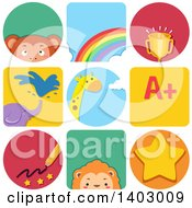 Clipart Of Educational And Animal Icons Royalty Free Vector Illustration