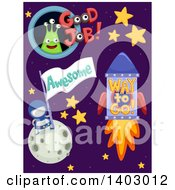 Clipart Of Outer Space Educational Encouragment Designs Royalty Free Vector Illustration