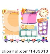 Clipart Of School Bulletin Designs Royalty Free Vector Illustration