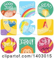Clipart Of Educational Encouragement And Animal Labels Royalty Free Vector Illustration