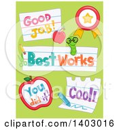 Clipart Of Good Job Best Work You Did It And Cool School Designs On Green Royalty Free Vector Illustration