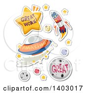 Clipart Of Great Work Amazing And Great Outer Space Educational Compliments Royalty Free Vector Illustration by BNP Design Studio