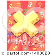 Clipart Of A Math Design Of A Symbol Numbers And Multiplication Text On Pink Royalty Free Vector Illustration