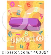 Clipart Of A Math Design Of A Minus Symbol Numbers And Subtraction Text On Orange Royalty Free Vector Illustration