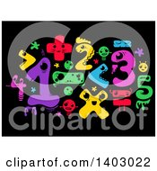 Clipart Of Colorful Monster Math Numbers And Symbols On Black Royalty Free Vector Illustration