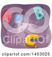 Clipart Of A Cave With Alphabet Letters Inside Royalty Free Vector Illustration