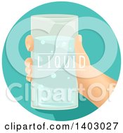 Clipart Of A Childs Hand Holding A Glass Of Water Royalty Free Vector Illustration