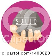 Clipart Of A Childs Hand Holding A Solid Rock Royalty Free Vector Illustration