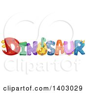 Clipart Of The Word Dinosaur With Patterns And A Brachiosaurus Royalty Free Vector Illustration by BNP Design Studio