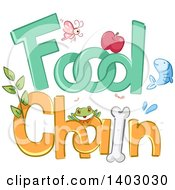 Clipart Of Insects Plants Fruit And Animals In The Words FOOD CHAIN Royalty Free Vector Illustration by BNP Design Studio