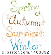 Clipart Of Spring Autumn Summer And Winter Text Designs Royalty Free Vector Illustration
