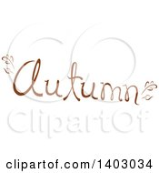 Clipart Of An Autumn Word Seasonal Design In Brown With Fall Leaves Royalty Free Vector Illustration