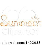Clipart Of A Summer Word Seasonal Design In Orange With A Sun Royalty Free Vector Illustration by BNP Design Studio