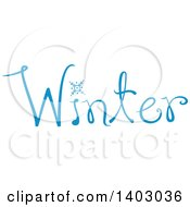 Clipart Of A Winter Word Seasonal Design In Blue With A Swowflake Royalty Free Vector Illustration