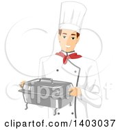 Clipart Of A Brunette Caucasian Male Chef Carrying A Metal Chafing Dish Royalty Free Vector Illustration