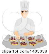 Clipart Of A Happy Male Chef Cooking Okonomiyaki Royalty Free Vector Illustration