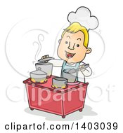 Cartoon Happy Blond White Male Chef Multitasking In A Busy Kitchen