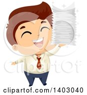 Brunette Caucasian Business Man Holding A Stack Of Documents And Cheering