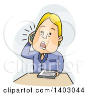Clipart Of A Cartoon Blond Caucasian Business Man With Paperwork Talking On A Phone Royalty Free Vector Illustration