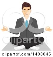 Clipart Of A Relaxed Man In A Suit Sitting In A Yoga Pose Royalty Free Vector Illustration by BNP Design Studio