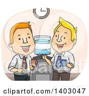 Clipart Of Cartoon White Business Men Chatting At The Water Cooler In An Office Royalty Free Vector Illustration by BNP Design Studio