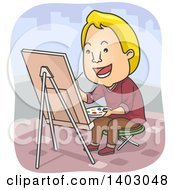Clipart Of A Cartoon Blond White Male Street Artist Painting On Canvas Royalty Free Vector Illustration by BNP Design Studio