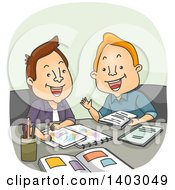 Clipart Of A Cartoon White Male Artist And Writer Meeting For A Project Royalty Free Vector Illustration by BNP Design Studio
