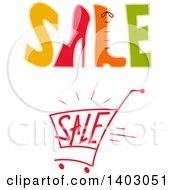 Clipart Of Sale Designs With Shoes And A Cart Royalty Free Vector Illustration