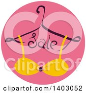 Clipart Of A Hanger With Sale Text And A Bra Or Bikini Top In A Pink Circle Royalty Free Vector Illustration by BNP Design Studio