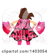 Clipart Of A Rear View Of A Woman With Shopping Bags And A Super Sale Cape Royalty Free Vector Illustration