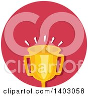 Clipart Of A Gold Trophy Cup In A Red Circle Royalty Free Vector Illustration by BNP Design Studio