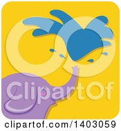 Clipart Of A Happy Purple Elephant Squirting Water On A Yellow Tile Royalty Free Vector Illustration by BNP Design Studio