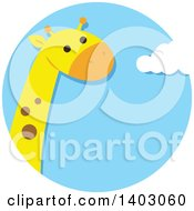 Clipart Of A Cute Giraffe In A Sky Circle Royalty Free Vector Illustration