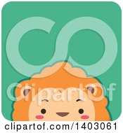 Clipart Of A Peeking Male Lion In A Green Tile Royalty Free Vector Illustration by BNP Design Studio