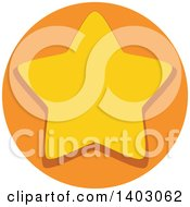 Clipart Of A Yellow Star In An Orange Circle Royalty Free Vector Illustration by BNP Design Studio