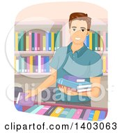Clipart Of A Brunette Caucasian Man Selecting Books In A Store Or Library Royalty Free Vector Illustration