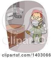 Cartoon Red Haired White Man Spraying Pesticides