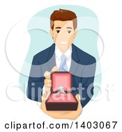 Clipart Of A Brunette Caucasian Man Proposing And Holding Out A Ring Royalty Free Vector Illustration