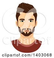 Clipart Of A Brunette Caucasian Man With A Groomed Beard And Mustache Royalty Free Vector Illustration