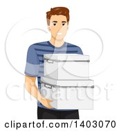 Clipart Of A Brunette Caucasian Man Carrying Storage Containers Royalty Free Vector Illustration