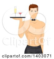 Clipart Of A Shirtless Brunette Caucasian Man Wearing A Tie And Serving Drinks Royalty Free Vector Illustration
