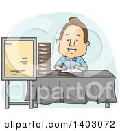 Clipart Of A Cartoon Brunette White Male Author Signing Books Royalty Free Vector Illustration