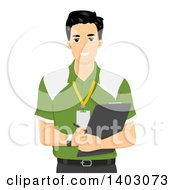 Clipart Of A Happy Male Personal Trainer Holding A Clipboard Royalty Free Vector Illustration