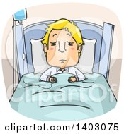 Clipart Of A Cartoon Sick Blond White Man In A Hospital Bed On Iv Therapy Royalty Free Vector Illustration