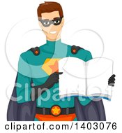 Clipart Of A Brunette Caucasian Male Super Hero Holding Open A Book Royalty Free Vector Illustration