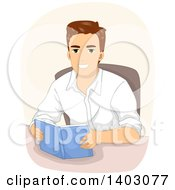 Clipart Of A Happy Brunette White Man Reading A Book At A Table Royalty Free Vector Illustration