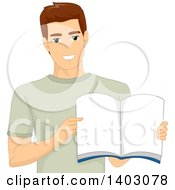 Clipart Of A Happy Brunette White Man Holding Open A Book Royalty Free Vector Illustration