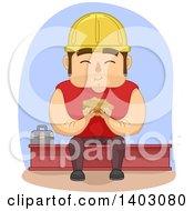 Cartoon White Male Construction Worker Eating A Sandwich On Break